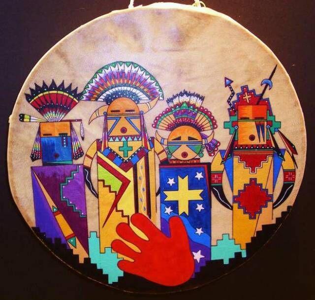 Four Calling Spirits Ceremonial Drum, LionFire Studio