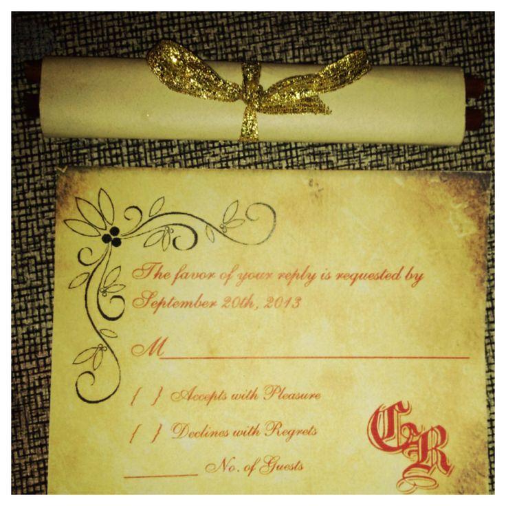 cinderellthemed wedding scroll invitations%0A DIY renaissance scroll wedding invites and RSVP cards