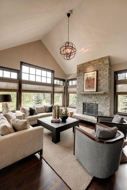 23 Stunning Modern Living Room Design Ideas-love the fireplace and windows!!