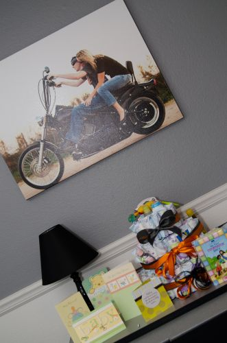 Motorcycle, Nursery, Rose Rock Photography, Baby, A photo canvas of Mommy and Daddy from their engagement shoot hanging on the wall over the dresser/changing table