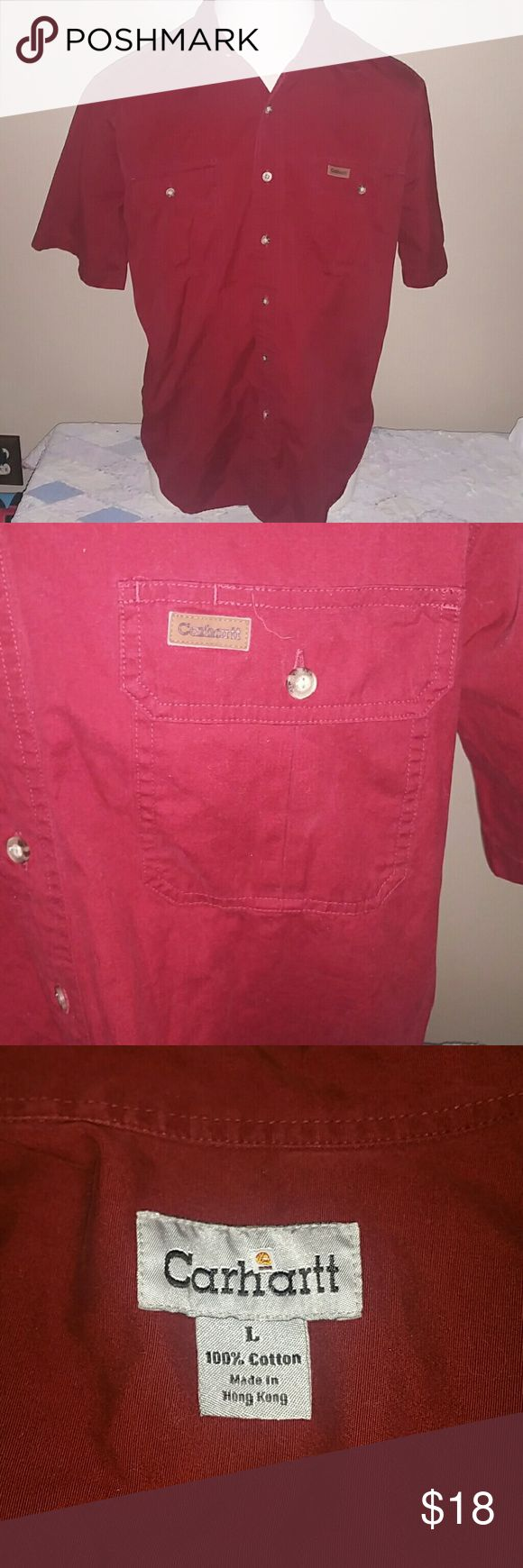Men's Large Cranberry Red Carhartt Work Shirt Short sleeve, button up, size large. It's a mix between cranberry and red. Good condition. Carhartt Shirts Dress Shirts
