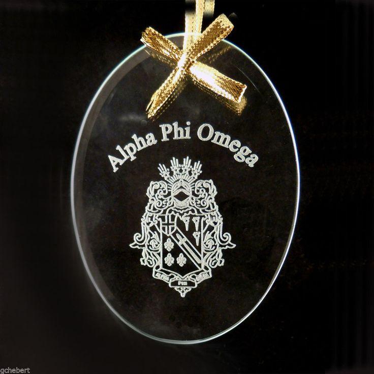 Alpha Phi Omega, ΑΦΩ, Beveled Oval Crystal Ornament/Sun Catcher #McCartney