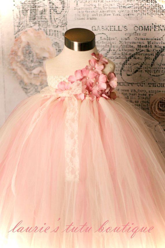Vintage Rose- One Shoulder Tutu Dress