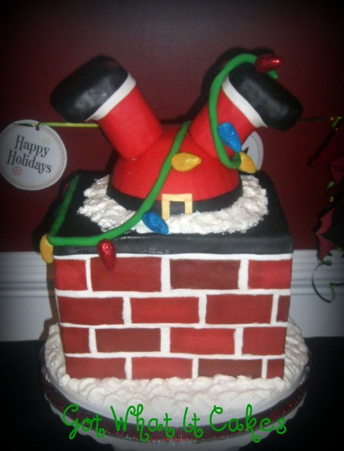 17 best images about cakes for christmas on pinterest Santa stuck in chimney cake