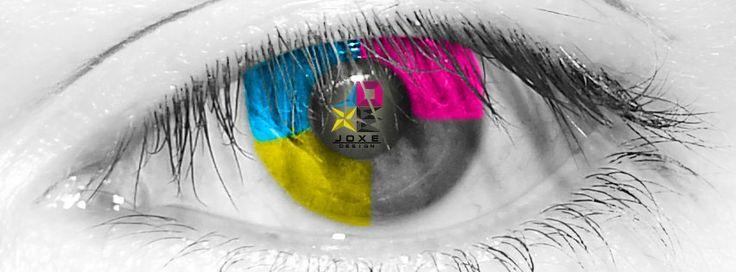 Retoque Fotográfico de un ojo con colores en cuatricomía y logo.