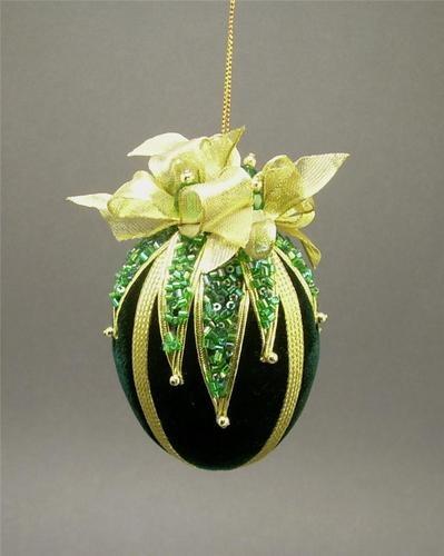 Towers & Turrets Handmade Vintage Style Beaded Velvet Egg Christmas Ornament | eBay