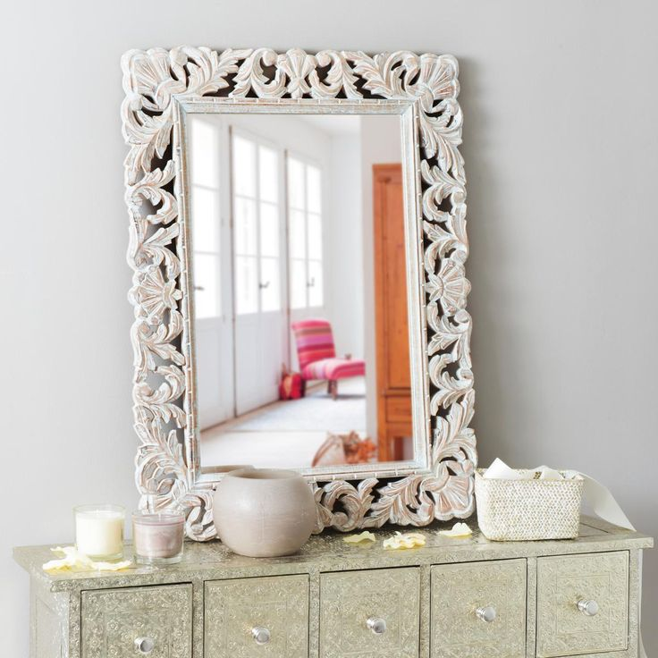 Specchio in mango sbiancato 60x80 cm Specchio con