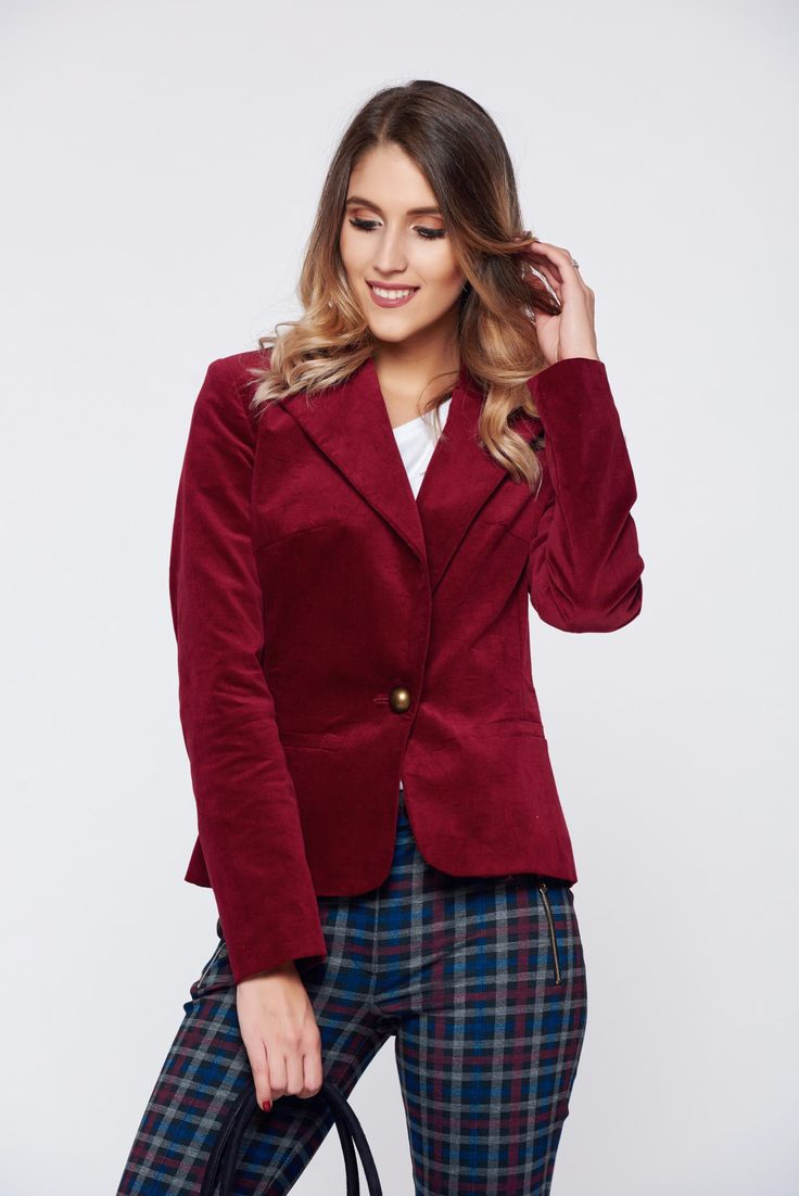 LaDonna red office velvet jacket with pockets, padded shoulders, nonelastic fabric, arched cut, long sleeves, one button fastening, with pockets, inside lining, velvet