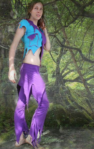 be a yoga fairy, skirted pants & top violet skyblue