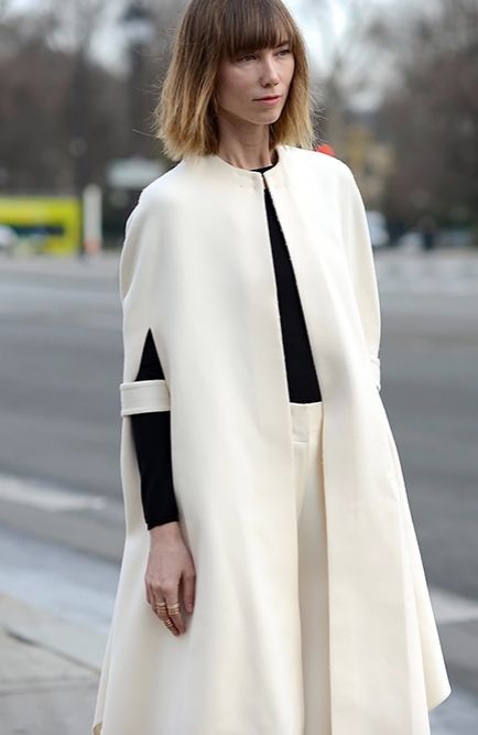 Anya Ziourova outside the shows during Paris Haute Couture Spring 2015.