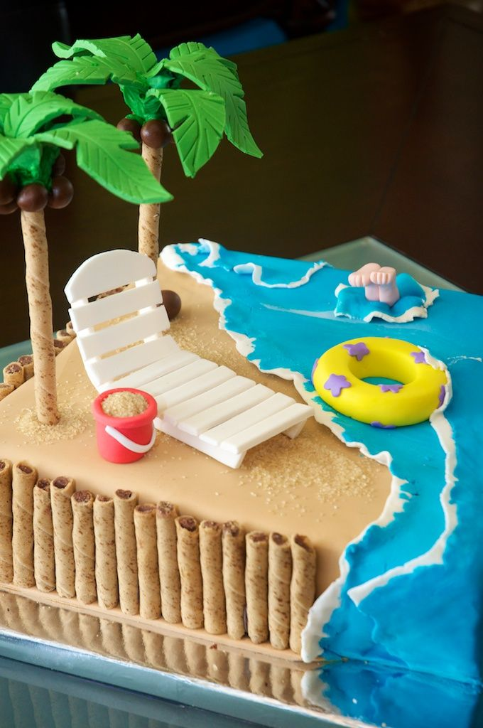 Beach Cake. I don't like the crap on top, but the water/wave treatment is really nice and something I know I can execute. Room for a nice crispies castle where the palm tree is now.
