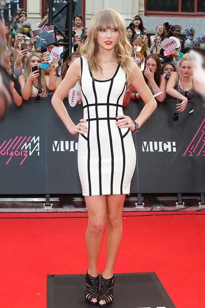 Herve Leger Taylor Swift Border-Banding Sleeveless Dresses