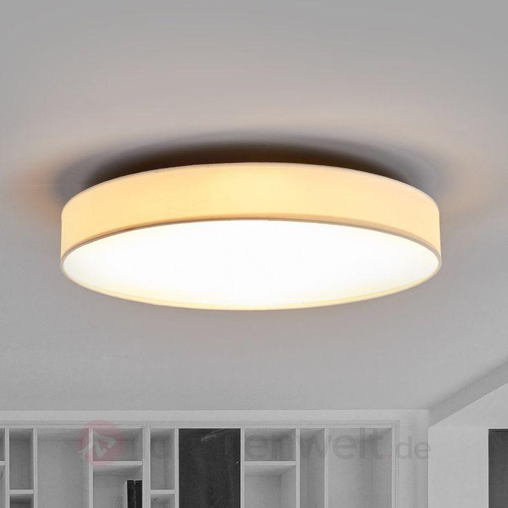 Große, weiße LED-Deckenleuchte Saira aus Stoff kaufen | Lampenwelt.de
