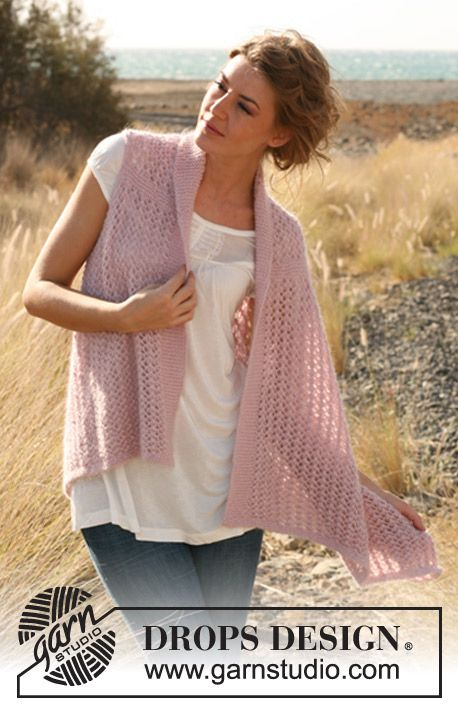 Fairy Feelings / DROPS 127-32 - Knitted DROPS vest with lace pattern worked sideways in Alpaca and Kid-Silk.  Size: S - XXXL