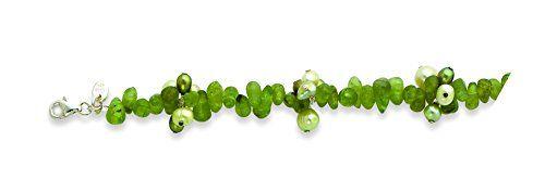 Sterling Silver Green Freshwater Cultured Pearl & Peridot Bracelet