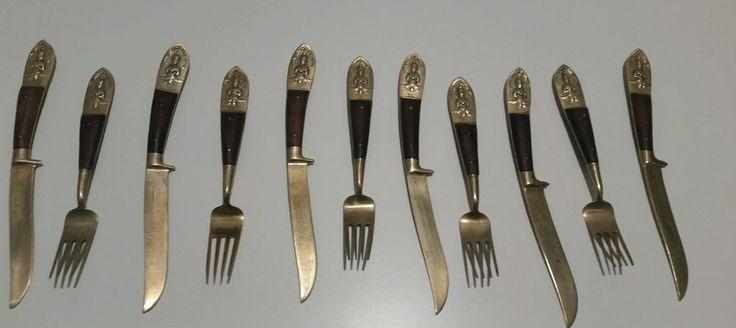 ASIAN THAI VENTIGE ,SIAM FLATWARE 11 piece FORK/KNIFE, BRASS/BRONZE WITH WOOD   | eBay