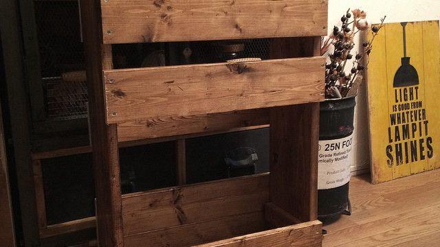 【我が家の「引き戸」はこう変わった!PART1〜間仕切り編〜】 で解体した時のSPF材がベランダにまとめて放置していたので、これを再利用して端材収納・板ストック収納を作りました。