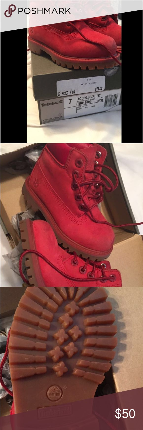 Red toddler timberland boots LIKE NEW red suede timberland boots size 7, worn twice Timberland Shoes Boots