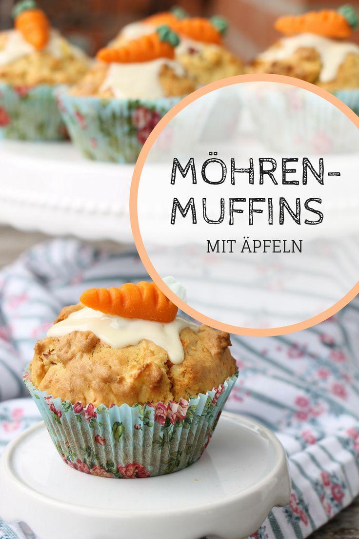 Apfelmuffins Rezept: Die Möhrenmuffins mit Apfel lassen sich in zwei Varianten zubereiten. In der einen sind sie ein gesunder Snack, in der anderen ein schnelles Muffinrezept mit Schokolade. Die Apfel-Möhren-Mufffins eignen sich als Kindergeburtstag Rezept und natürlich auch als Osterkuchen.
