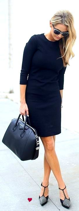 Beautiful NAVY dress. Very smart. Givenchy bag and Saint Laurent shoes