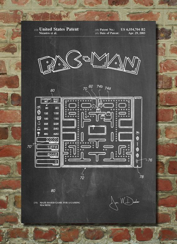 Pacman Vintage Arcade Game Patent Wall Art Poster By