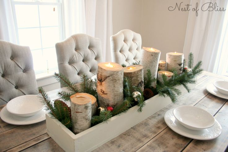 Love the homemade birch candle holders, great project for Colleen, Grandma  & I next week :)     I'd like to put the linear arrangement on a long antique silver plate tray along with lots of evergreen and antique glass Christmas balls.