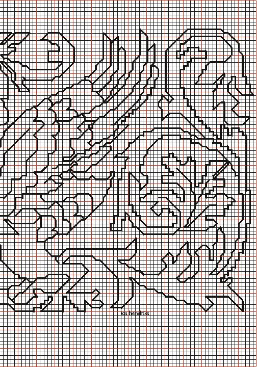 """working drawing 3 for the Assisi embroidery design """"winged beasts around vase"""""""