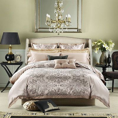 Noble Luxury Tribute Silk Duvet Cover 6pcs Bedding Set King U0026 Queen Size