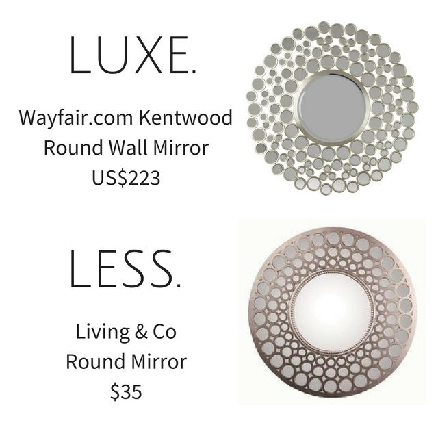#Luxe is the Wayfair.com Kentwood Round #Wall #Mirror for $232 #USdollars and #less is the #Living & Co Round Wall Mirror from @thewarehousenz for $35. #GettheLook for a #bargain!  #thewarehousenzhacks #warehousestyle #furniture #NewZealand  #thewarehousenz #interiors #house #styling #style #hacks #shopthetrend #home #decor #luxeforless #luxury #design