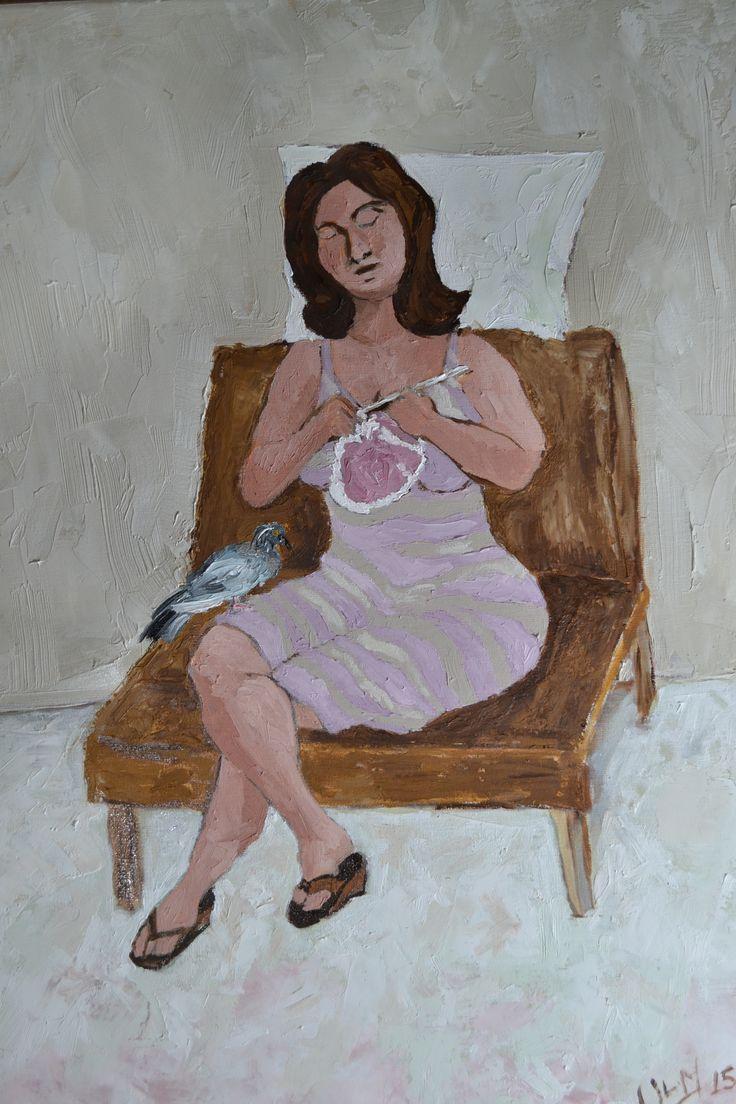 """""""La espera"""", óleo sobre tela, 32x45 cm. The wait, oil on canvas."""