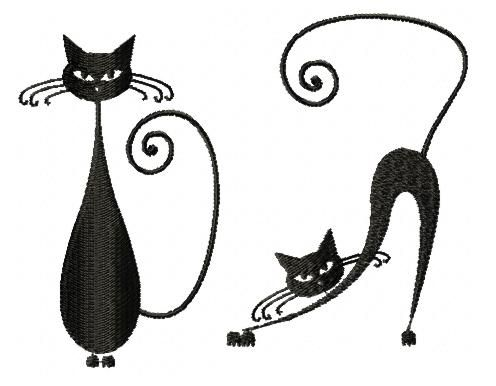 Whimsical Cat Silhouette Set III | Machine Embroidery ...