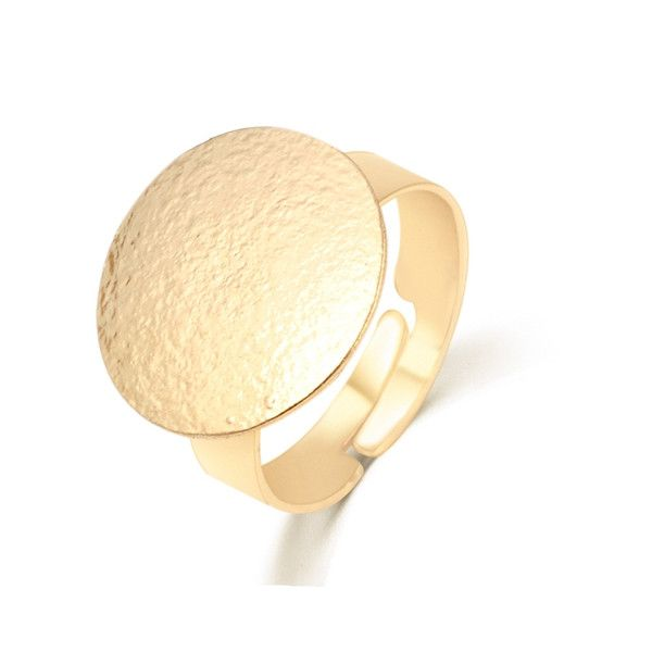 Gold Round Circle Opening Finger Ring For Women Adjustable
