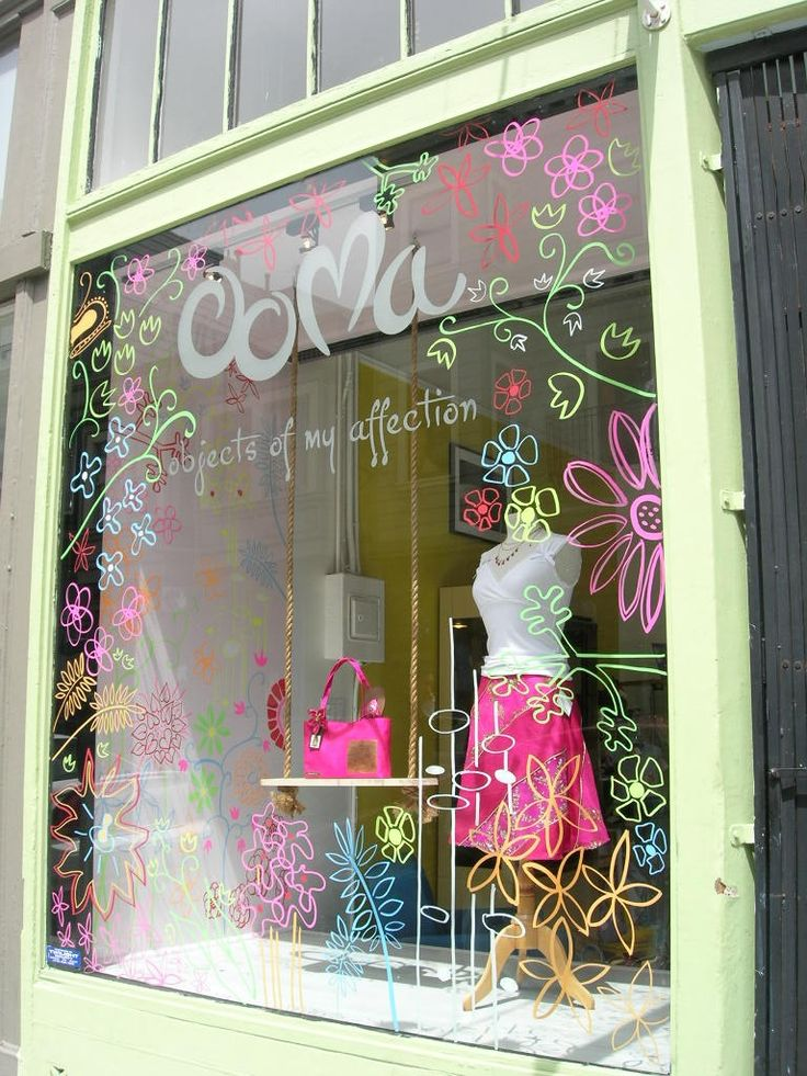 Painting on glass cute for spring window display ideas for Boutique window display ideas