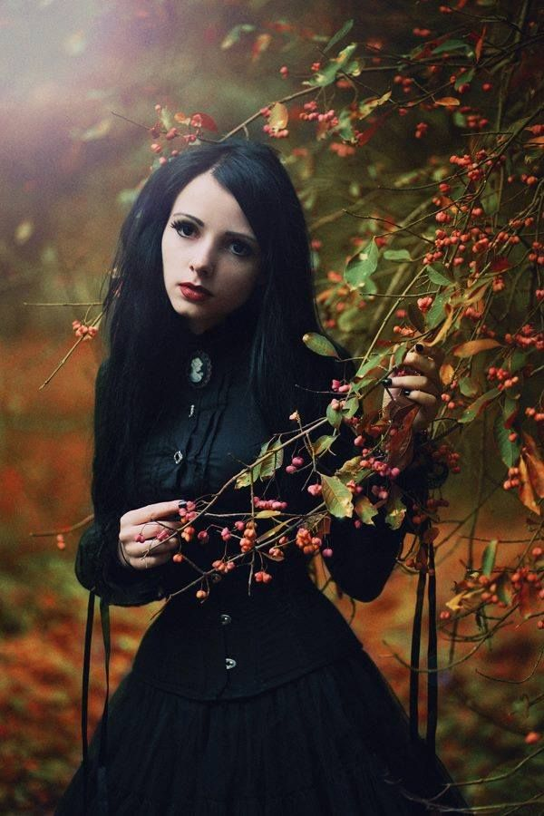 #Goth girl reflection in the fall