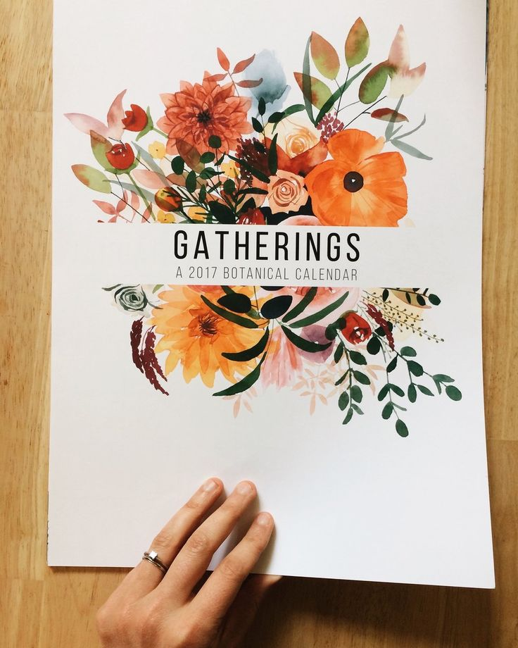 """The May We Fly 2017 Calendar, """"Gatherings,"""" is a collection of botanical  watercolor illustrations inspired by the seasons. I hope that these fresh  flowers and leafy greens will be a delightful addition to your every day  doings.  The calendar includes moon phases and major U.S. holidays. It is printed on  smooth cardstock and measures 11""""x17"""". Hung with cute copper binder clips  and twine."""