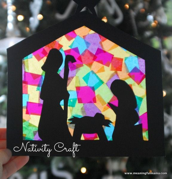 Stained Glass Nativity Craft Teaches Hope - Printable Included. Great craft for preschool kids and older.  Meaningful Mama