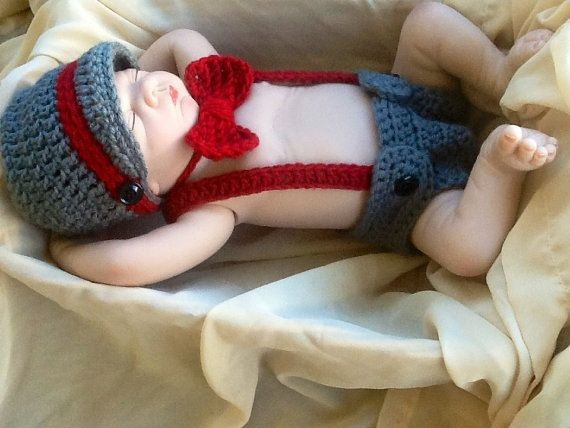 Little Mister Outfit- Little Man Suit/ Suspenders Baby Boy Outfit Suspenders- Crochet/Knit Vintage Baby- Diaper Covers- Bow Tie- Suspenders
