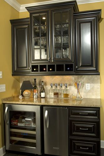 gold-ish walls (less bright/intense) w black cabinetry