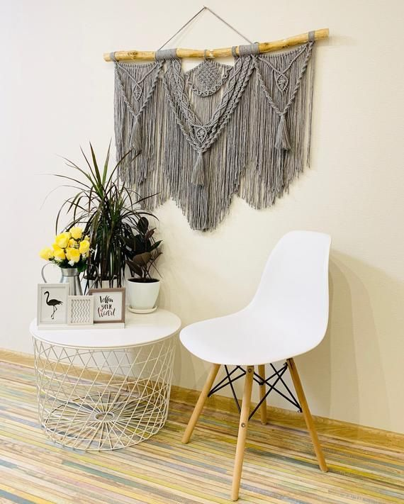 Grey macrame wall hanging, Above couch wall decor, Grey and white wall art, Contemporary tapestry, Christmas gift
