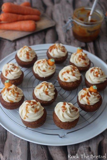 Cupcakes à la carotte, glaçage au sucre brun et caramel