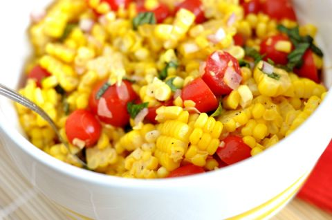 Summer Corn Salad so good I added cucumber chives and a little more vinegar!
