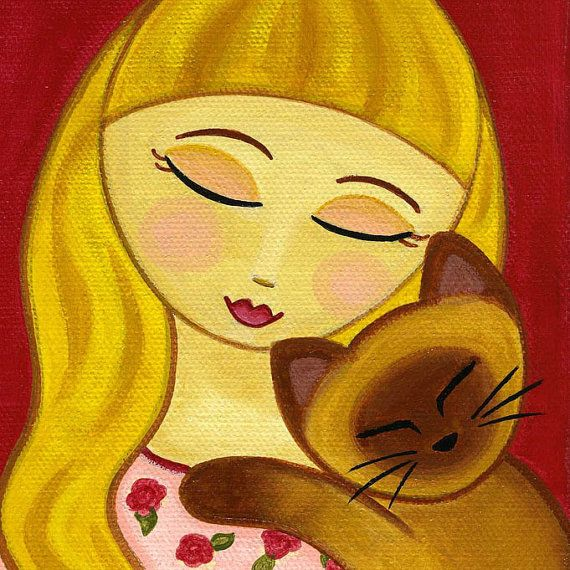 Blonde GIRL and Siamese CAT Folk Art PRINT from Original Painting by Jill