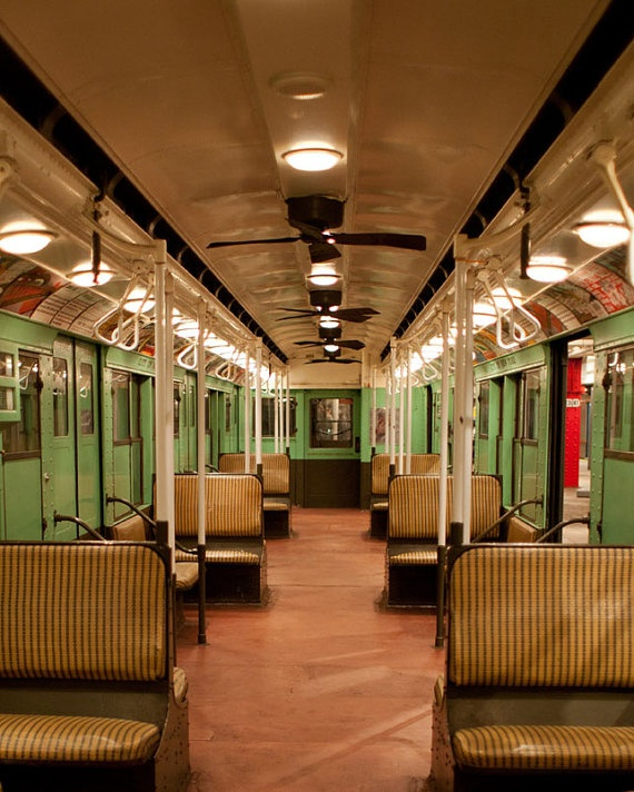 Vintage New York subway car. I remember these old cars, with their woven rattan seats.