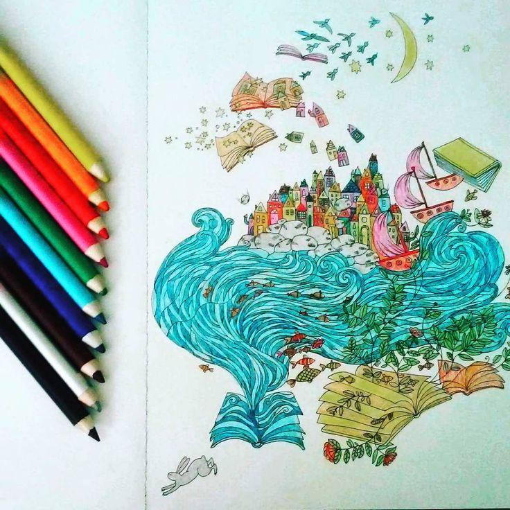 """""""Płyniemy na Wyspy?  ⛵⚓ #kolorowanka #anitagraboś #kolorowanie #koloruje #beautiful #colorful #kolorowanki #sztukakolorowania #coloringbook #art #relax…"""""""