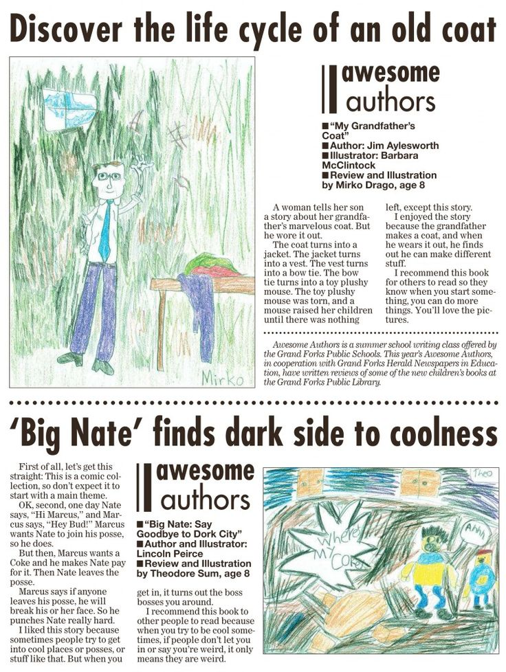 Week 4 Awesome Authors' book reviews and illustrations are from Mirko Drago, age 8 and Theodore Sym, age 8. These appeared in the Grand Forks Herald on Sunday, September 20, 2015.