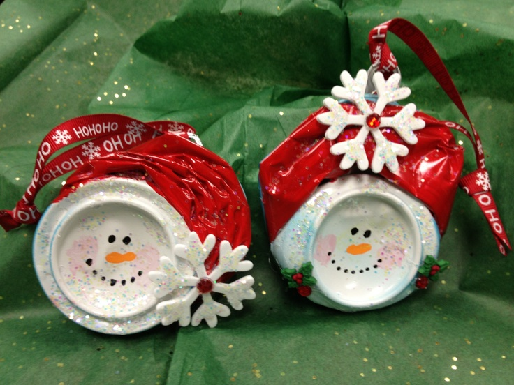 "Snowmen --""Snowcans""---Mr. & Mrs. Snow made from smushed coke cans--"