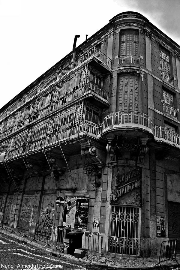 Odéon Cinema - abandoned Art Deco building in Lisbon, Portugal.