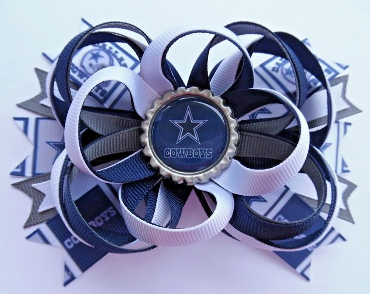 DALLAS COWBOYS FOOTBALL STAR TEXAS STACKED BOUTIQUE HAIR BOW RIBBON HANDMADE #Handmade