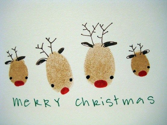 Fingerprints reindeer family christmas cards!