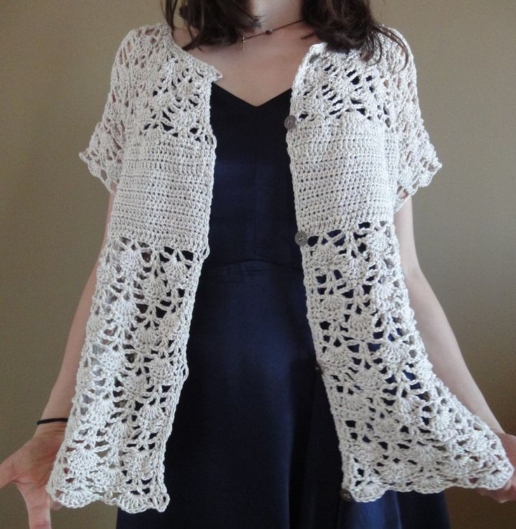 Elegant viscose-cotton openwork cardigan crocheted delicate sand/gold Large XLarge sweater classic top vest summer delicate feminine by TheoMez on Etsy